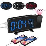 MCvilla Projektionswecker(Upgrade-Version), Radiowecker,3 Farbkonvertierung,FM Wecker mit Projektion,Dual-Alarm,10 einstellbare Lautstärkestufen, Sleep Timer,2 USB-Anschluss,180° Projektor Anzeige -
