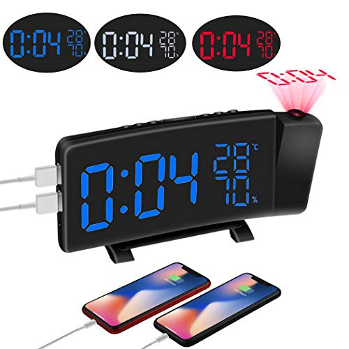 MCvilla Projektionswecker(Upgrade-Version), Radiowecker,3 Farbkonvertierung,FM Wecker mit Projektion,Dual-Alarm,10 einstellbare Lautstärkestufen, Sleep Timer,2 USB-Anschluss,180° Projektor Anzeige