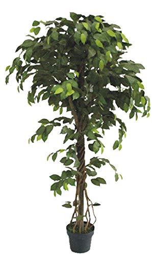 Decovego Ficus Benjamin Birkenfeige Kunstpflanze Kunstbaum Künstliche Pflanze mit Echtholz 165cm