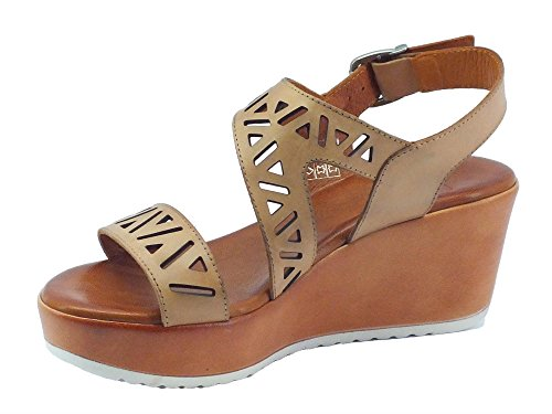 Sandali Mercante di Fiori per donna in pelle colore camel zeppa media Camel