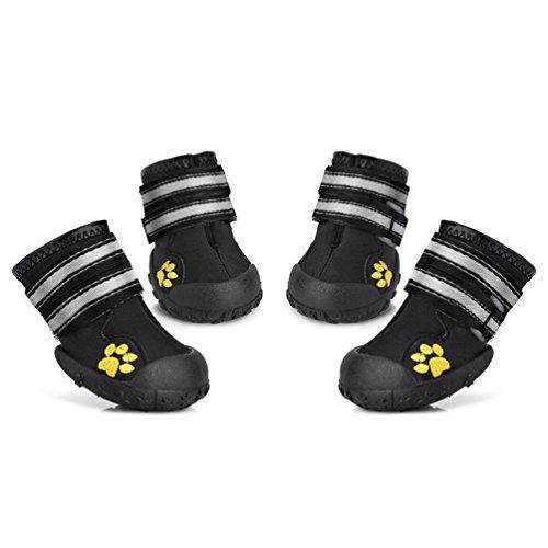 FONLAM Zapatos para Perro Mascota Duraderos Botas para Lluvia Zapatillas Impermeable Protector de Patas Antideslizante Jugar al Aire Libre (6, Negro)