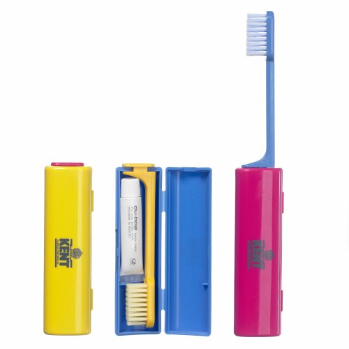 Kent Small Nylon Travel Size Toothbrush with Toothpaste (1 piece – Colours may vary)