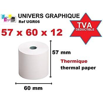 Apli 15247P Lot de 10 Bobines Papier thermique sans ph/énol 57 x 40 x 12 mm