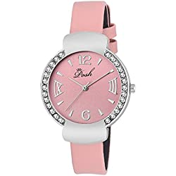 Posh Waterproof Crystal Studded Dial Fuax Leather Band Women's Casual Wrist Watch