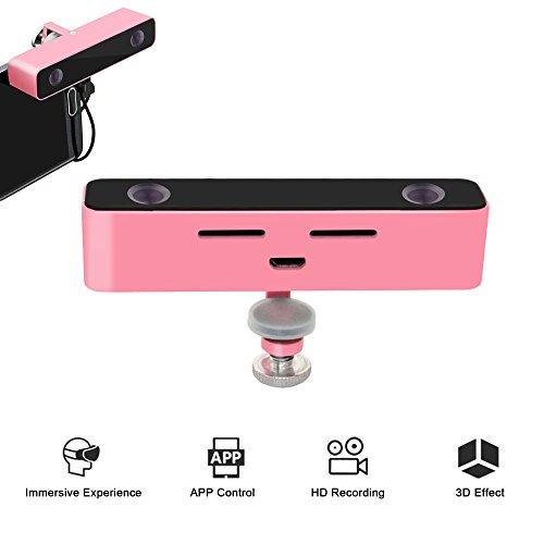 3D-Kamera-VR - Virtuelle Realität Pro Handy 720p HD-Video-Camcorder für Samsung Note 3/4/5 und andere Android-Telefon (pink)