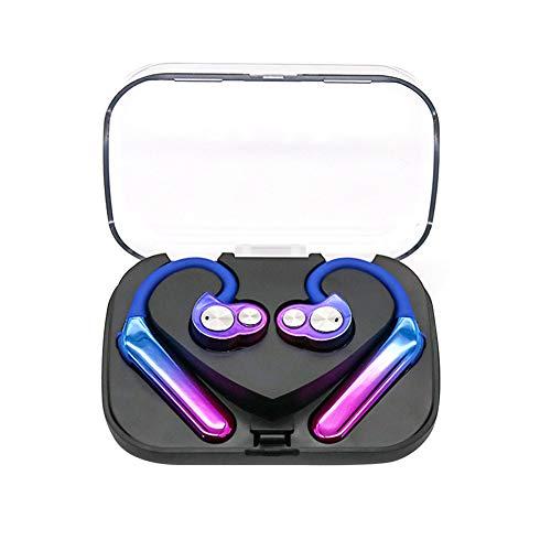 Kabelloses Bluetooth-Headset TWS Bilaterale Stereoanlage Über Typ 5.0 Sport Wasserdicht Doppelter Beweglicher Kopfhörer Kabelloser Ohrbügel Rauschunterdrückung HiFi-Ohrhörer mit Ladekoffer Multicolor Dual-bud-stereo