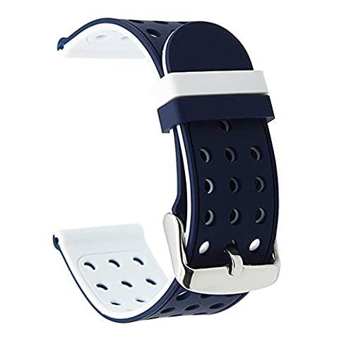 TRUMiRR 22mm Silicone Rubber Watch Band Double Side Wearing Strap for Samsung Gear S3 Classic Frontier, Gear 2 R380 R381 R382, Moto 360 2 46mm, Asus ZenWatch 1 2 Men, Pebble Time, LG