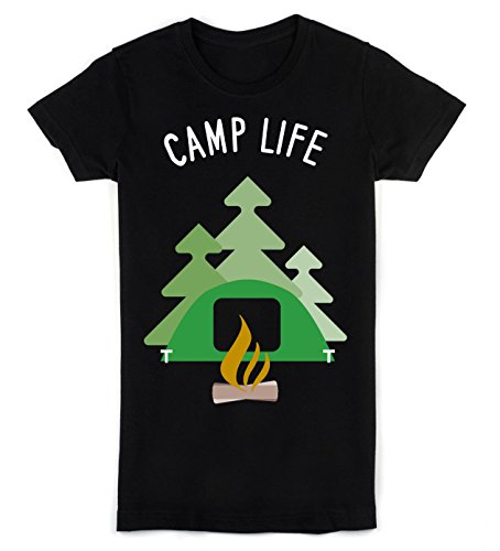 5b04f73b6d Camp Life Camping Tents With Campfire T-shirt da Donna Small