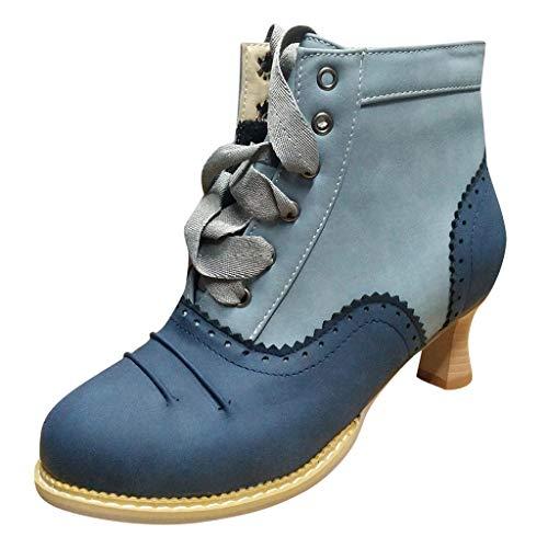 Winter Stiefeletten Damen Thick High Heel Scrub Ankle Boots Schnürstiefel Studenten Schuhe Stiefel(36 EU,Blau) -