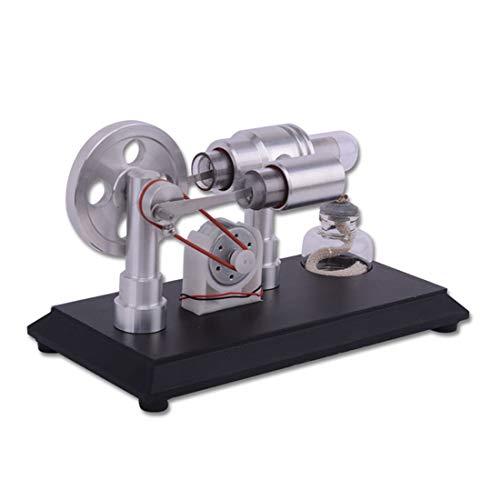 YVSoo Stirlingmotor Bausatz 2 Zylinder Stirling Engine Kit mit Generator, Motormodell Motor Spielzeug Physikalische Wissenschaft für Kind, Teenager