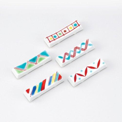 set-of-5-kutani-overglaze-fine-pattern-chopstick-rest-japan-import-by-kutani