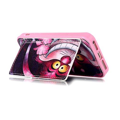 Etche Housse de protection pour iPhone 5,Housse en cuir PU pour iPhone 5/5s,couvercle de poche de portefeuille pour iPhone 5/5s,Retro Vintage classique Housse en cuir de cuir flip couverture Wallet té nez rouge animale