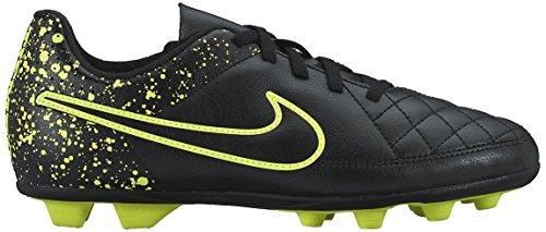 Nike - Jr Tiempo Rio Ii Fg-r, Scarpe sportive Bambina Nero / Verde (Nero / Nero-Volt)