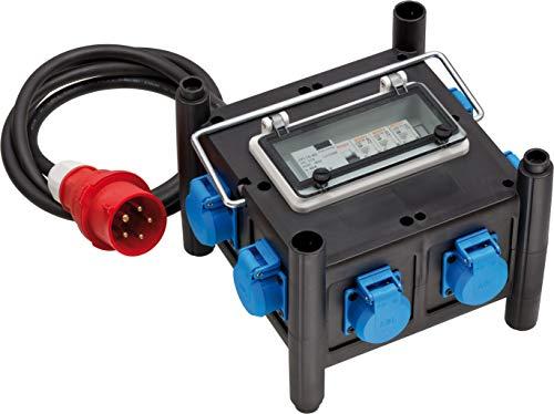 Brennenstuhl Kompakter Gummi-Stromverteiler / Gummiverteiler mit zertifiziertem Sicherungsautomaten (2m Kabel, 7x 230 V/16 A, Baustelleneinatz und ständigen Einsatz im Freien, Made in Germany)