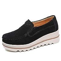 Women Comfy Slip-On Platform Shoes Women Platform Slip On Loafers Comfort Wedge Shoes (36, BLACK)