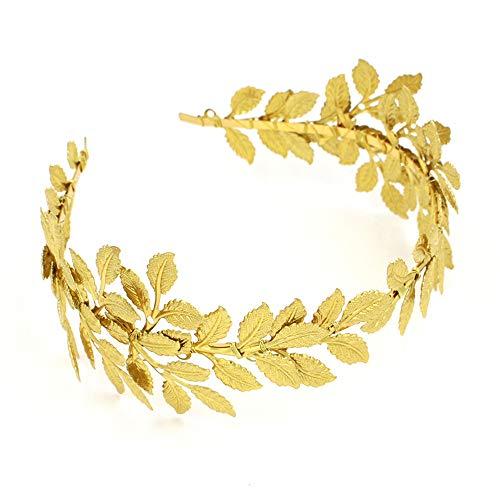 roroz Hochzeit Stirnband Tiara, goldene Blätter Braut Stirnband, Mode Barock Kopfschmuck Olive Leaf Vintage Braut Accessoires,Gold