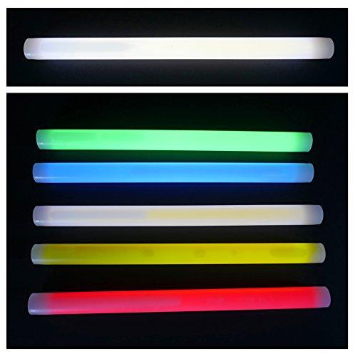 x 25 mm FETT und extrem Helle Leuchtstäbe, 7 Farben, Knicklichter optimal als SOS Outdoor Survival Tauchen LED Beleuchtung Leuchtstäbe Glowstick Partylicht Neon weiß rot gelb grün pink orange blau (Weiß) (Glowstick-halskette)