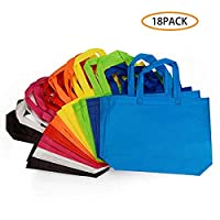 Zhongsheng 18 Pack Party Gift Tote Bag, 10 x13 Inch Non Woven Gift Tote Bags with Handles for Birthday Favors, Snacks, 9 Colors
