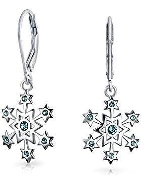Bling Jewelry Silber Schneeflocke simulierten Blautopas Ohrringe Leverback CZ