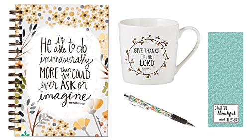 Give Thanks to the Lord Cafe-Tasse, Do ImMeasurably More Journal, Minzblumen-Tintenstift mit Lesezeichen, Set
