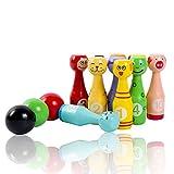 MXtechnic Bowling di legno per bambini, bowling Birillo Giocattoli (10 pin + 3 palle)