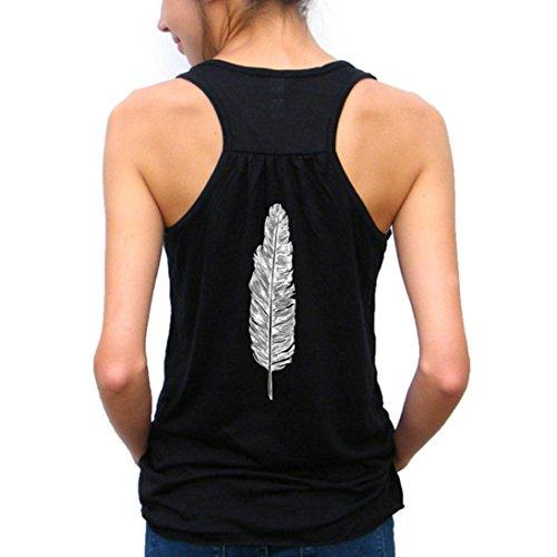 Frauen Sommer Weste Spitzenmode Feder Druck Trägershirt Damen Sleeveless dünnes Bustier-festes T-Shirt Von LSAltd (S, Schwarz)