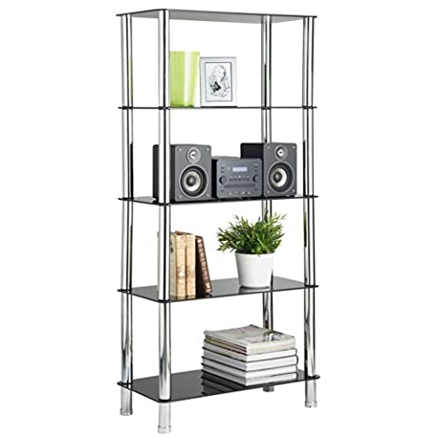 VonHaus Glass Shelving Unit Bookcase Living Room Furniture 5 Tier with Chrome Legs