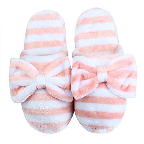 Donna Casa scarpe antiscivolo ,Amlaiworld Pantofole di cotone morbido caldo coperta con fiocchi Arancione