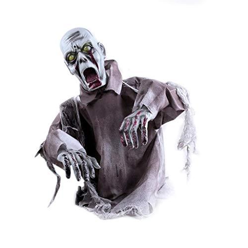 Crawling Halloween Dekoration Hanging Ghost Rote LED Augen Horror Stimme WILLKOMMEN Skeleton Schädel Halloween Party Requisiten Spukhaus Indoor Und - Abgetrennter Kopf Kostüm