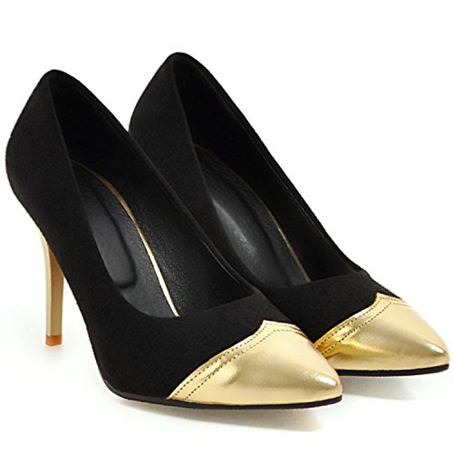 Azbro Women's Pointed Toe Color Block Stiletto Slip-on Pumps Black