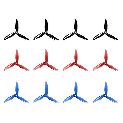 12 Stück 5040 12,7 cm 3-Blades CW CCW Tri-Blade Propeller, t5040 C Prop Best stuiable für 200 210 220 230 250 FPV Racing Drone Quadcopter Rahmen Kit (Schwarz, Rot, Blau)