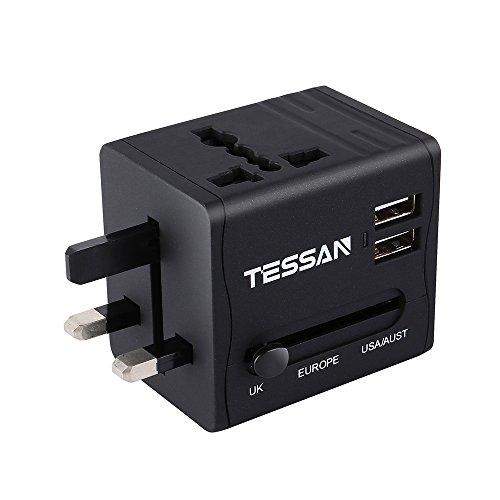 Universal reiseadapter Reisestecker weltweit Travel Adapter Reise Steckdosenadapter Stromadapter mit 2 USB für 150 Ländern USA/Australien/EU/England/China/Italien und mehr (Usa Strom-led)