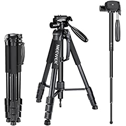 Neewer Trépied Appareil Photo- Trépied Monopode Portable 177 cm en Alliage Aluminium avec Sac pour Appareil Photo Canon Nikon Sony DSLR DV Vidéo Caméscope Noir (SAB264)