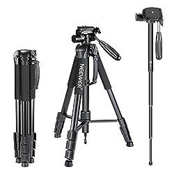Neewer Tragbarer 177cm Aluminium Legierung Kamera Stativ Einbeinstativ mit 3-Wege-Drehgelenk Pan Head für DSLR-Kamera schwarz