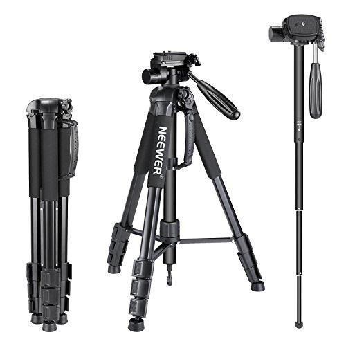 Nota: las cámaras NO son incluidas.     Descripción:    La panorámica rotación cámara trípode monopie es un portátil de viaje para cámara Canon Nikon Sony DSLR, cámaras de vídeo DV.    Trípode altura se puede ajustar desde 20,9 pulgadas/53 centíme...