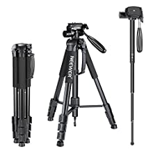 Neewer Portable 70 inches/177 centimeters Aluminium Alloy Camera Tripod Monopod with 3-Way Swivel Pan Head,Bag for DSLR Camera,DV Video Camcorder,Load up to 8.8 pounds/4 kilograms Black(SAB264)