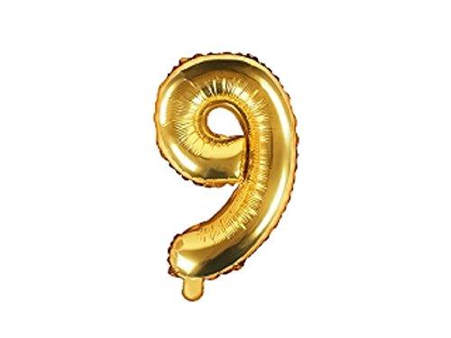 SiDeSo® Folienballon 35cm Gold Heliumgeeignet Party Geburtstag Jahrestag Hochzeitstag Jubiläum Zahlenluftballon Luftballon Buchstabe Zahl Alphabet (Zahl 9)