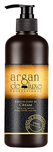 Kein Frizz-haar-produkte (Arganöl Keratin Leave-In-Pflege ✔ Anti-Frizz, tiefenwirksame Feuchtigkeit, UV-Schutz, toller Duft ✔ Argan DeLuxe, 240ml)