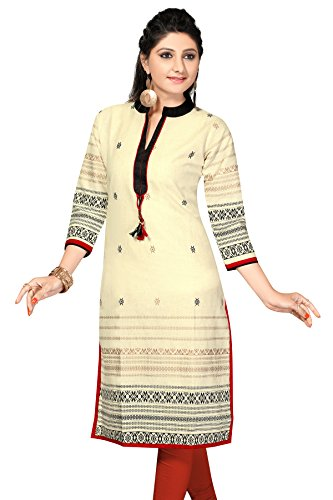 Chinese Collar Pakistani Style Long Khadi Kurti (Chest Size: 42)  available at amazon for Rs.549