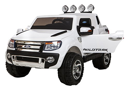 Ricco Licensed Ford Ranger White 4x4 Kids Ride on Car with Remote Control LED Lights and Music