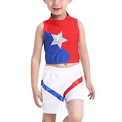 Huatime Cheerleader Kinderkostüm Karneval Fasching - Kinder Kostüm Plissee Mädchen Outfit Uniform Party Halloween Junge Oberteil Mit Rock Oder Kurze ()
