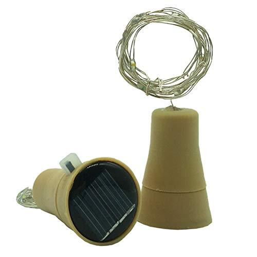 BONNIO Solar LED Cork Light String Light String 1,5 m/15 warme weiße LED-Glühbirnen für die Flasche DIY-Dekor (warm White)