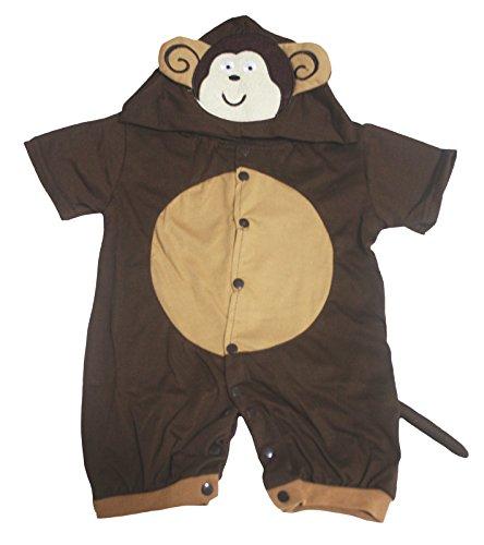 Kostüm 3 Affen 0 Baby Monate - Petitebelle Brown Monkey Romper Jumpsuit Costume for Halloween Baby Dress NB-18m (0-3 Monate)