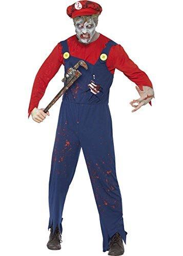 Mens Zombie Mario Stil Klempner Kostüm Medium (37-40