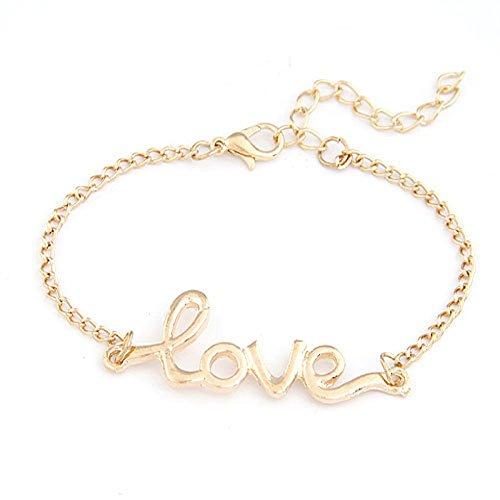 Wrone (TM) braccialetto dei monili di amore delle donne della lega fascino Handmade Wristband braccialetto 1 - Lega Wristband