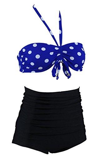 Aloha-Beachwear polka dots high Waisted hochtailliert Vintage Damen Bikini A2017 Mehrfarbig