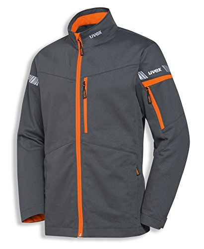 uvex Safety metal 8939 Leichte Arbeitsjacke, 60% Baumwolle, Sicherheitsjacke für Herren und Damen, auch als Freizeitjacke verwendbar, mit Reflektoren, Grau / Orange, Größe 98/102