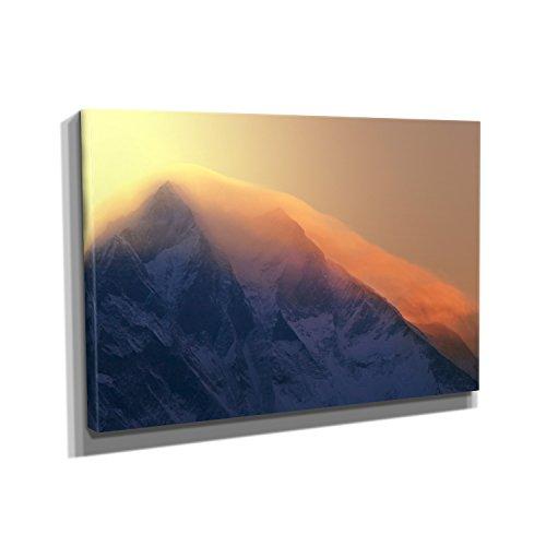 Nerdinger Everest Sunrise - Kunstdruck auf Leinwand (45x30 cm) zum Verschönern Ihrer Wohnung. Verschiedene Formate auf Echtholzrahmen. Höchste Qualität. -