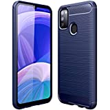 Golden Sand Drop Tested Shock Proof Slim Armor Rugged TPU Carbon Fibre Back Cover Case for Samsung Galaxy M30s (Metallic Blue)