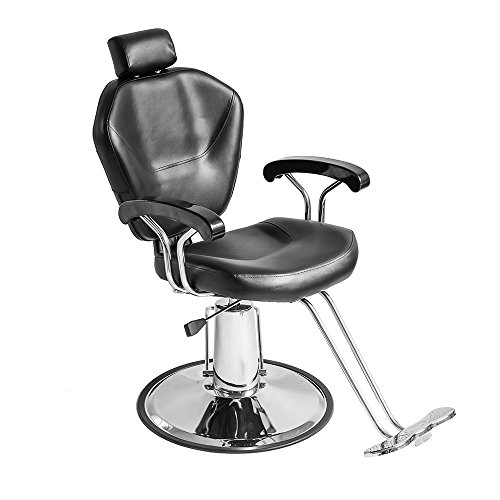 Seababyhouse Adjustable Reclining Barber Chair Styling Salon Beauty Shampoo Hairdressing Spa Equipment Chairs Black